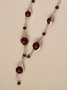Náhrdelníky - Vínovo-červený náhrdelník - 6605930_