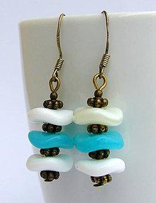 Náušnice - Náušnice tyrkysové s bielou perleťou - 6604147_