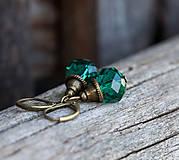 Smaragdové rondelky - brúsené sklo