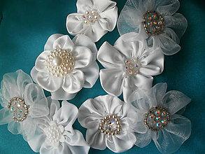 Kytice pre nevestu - Svadobné kvety saténové - 6610388_