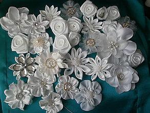 Kytice pre nevestu - Svadobné kvety saténové - 6610407_