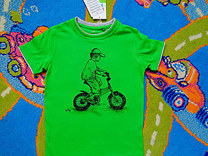Detské oblečenie - maľované tričko malý cyklista - 6608878_