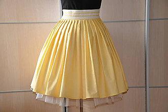 Sukne - SUKŇA-bodkovaná žltá - 6611194_