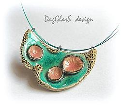 Náhrdelníky - keramický náhrdelník ...vodná záhrada... - 6609008_