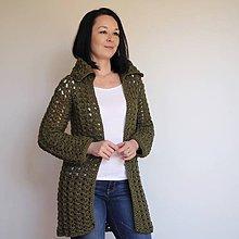 Svetre/Pulóvre - dlhý háčkovaný sveter olivový - 6608267_