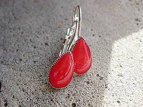 Náušnice - Slzičky (Rubínovo červené slzičky, č1526) - 6608051_