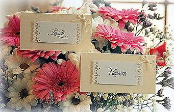 Darčeky pre svadobčanov - Menovky na svadobný stôl - 6611148_