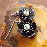 Náušnice - Náušnice Kvety s perlami - 6614413_