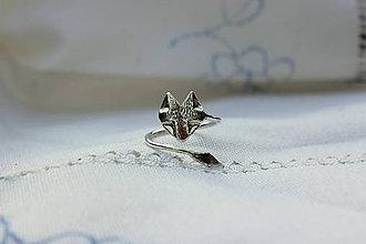 Prstene - strieborný nastaviteľný prsteň - líška - 6613897_