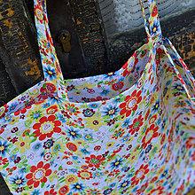 Nákupné tašky - Nákupná taška biela - smajlíkové kvietky - 6614605_