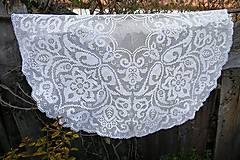 Úžitkový textil - Veľká  biela háčkovaná okrúhla dečka - 6614452_