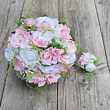 Kytice pre nevestu - Svadobná kytica Ružovo-biela s korálkami a sviežou zeleňou - 6616798_