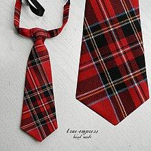 Doplnky - Červená károvaná kravata - 6616032_