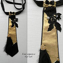 Iné doplnky - Čierno-zlatá dámska kravata - 6616194_