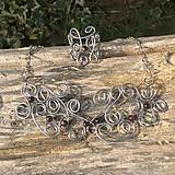 Sady šperkov - ornamentálna nerezová sada s byčím okom- náhrdelník a náušnice - 6617351_