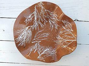 Nádoby - Keramická misa na ovocie hnedá s bielymi vetvičkami - 6621137_