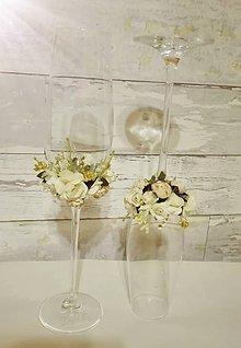Nádoby - Svadobné poháre s ružičkami - 6621685_