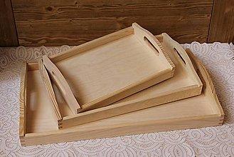 Polotovary - kvalitné masívne drevené tácky set 3v1 - 6620977_