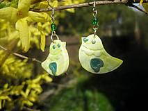 Náušnice - Vtáčiky na uškách (žlto zelené č.1508) - 6619383_