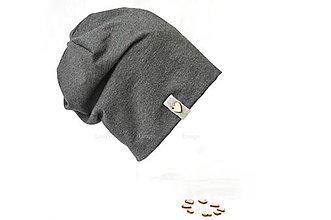 Detské čiapky - bavlnená čiapka antracit srdce - 6621566_