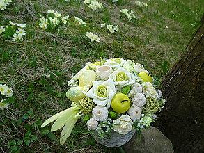 Dekorácie - V košíku zelené ruže s jabĺčkami a citrónmi,....... - 6624901_