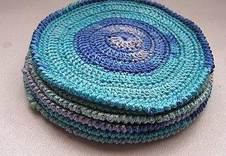 Úžitkový textil - *** Modro-tyrkysové podkafíčka *** - 6625664_
