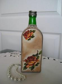 Nádoby - fľaša s ružami - 6622877_