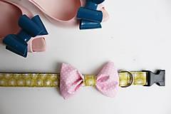 Pre zvieratká - Dvojfarebný retro obojok Gerda - s motýlikom - 6625326_