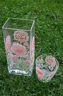 Dekorácie - Vintage váza so svietnikom pivonka - 6624806_