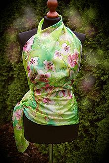 Šatky - Hodvábna maľovaná šatka s čerešňovými kvetmi... - 6625527_