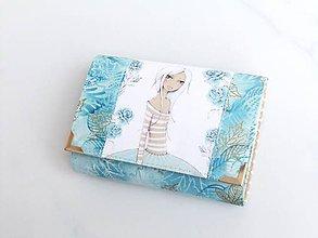 Peňaženky - Dívka v modrém - malá na více karet - 6626079_