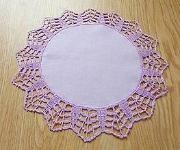 Úžitkový textil - Obrúsok s háčkovanou krajkou, svetlofialový - 6625047_