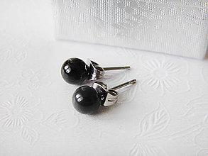 Náušnice - Swarovski perlové puzetky - Crystal Mystic Black, 6mm - 6623788_
