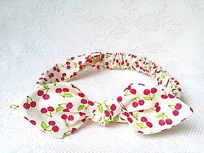 Ozdoby do vlasov - Pin Up headband on elastic for kids (sweet cherries) - 6628308_