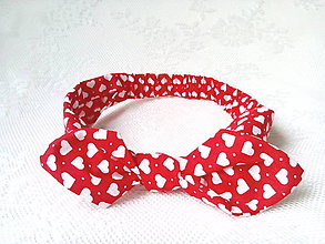 Ozdoby do vlasov - Pin Up Valentine headband on elastic for kids (red with white hearts) - 6628344_
