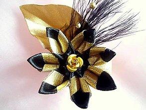 Ozdoby do vlasov - čierno-zlatá sponka - 6627433_