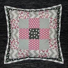 Úžitkový textil - Patchwork - vankúš 2 sivoružový 40x40 - 6627793_