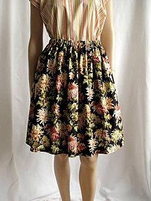 Sukne - Chryzantémová sukňa (čierna) - 6626900_