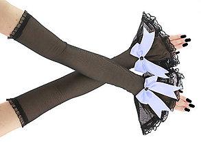 Rukavice - Spoločenské čierné dámske rukavice, návleky na ruky 010E - 6629450_