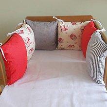Textil - Sova,šedá,červená - 6631102_