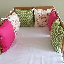 Textil - Ruža na bielej,fuxia,zelená - 6631129_