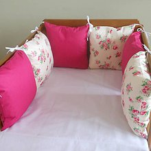 Textil - Ruža na bielej, fuxia - 6631144_