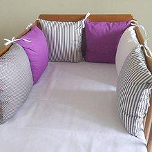 Textil - Fialová sýta, šedá, biela - 6631153_