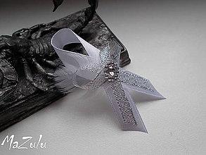 Pierka - svadobné pierko strieborné  s perím - 6629701_