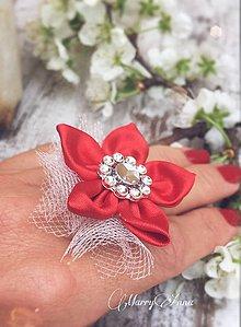 Prstene - Prsteň saténový - červený - 6630276_