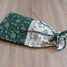Úžitkový textil - Zeleno biela chalupárska - obal na chlieb - 6630296_