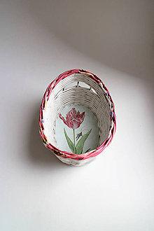 Košíky - Košík papierový - Červený tulipán | malý biely - 6629862_