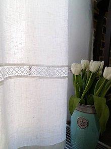 Úžitkový textil - Biele ľanové závesy - 6632576_