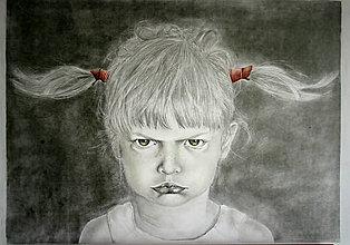 Kresby - Portrét nahnevaného dievčatka - \