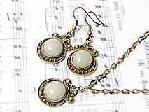 Sady šperkov - Ornaments & Yellow aventurine / Set náušníc a náhrdelníka s aventurínom v bronzovom prevedení - 6633332_